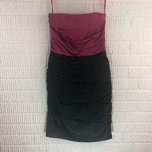 WHBM strapless hourglass burgundy & black dress